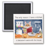 Cute, funny cooking cat in kitchen square magnet