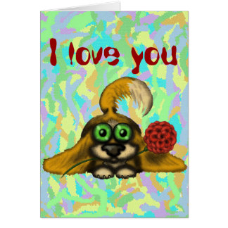 Cute funny dog with flower I love you card
