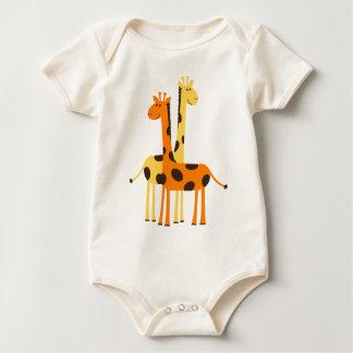 Cute Funny Giraffe Pair Baby Bodysuit