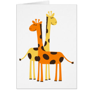Cute Funny Giraffe Pair Card