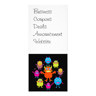 Cute Funny Monster Party Creatures in Circle Rack Card Template