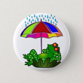 Cute Funny Mr. Frog cartoon doodle 6 Cm Round Badge