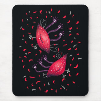Cute Funny Red Three Eyed Cartoon Aliens Mouse Pad