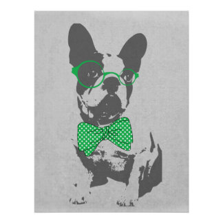 Cute funny trendy vintage animal French bulldog Poster