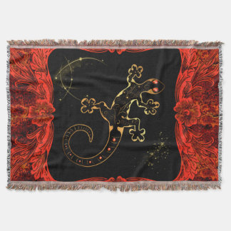 Cute gecko in red and gold throw blanket
