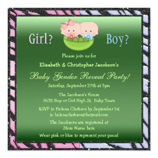 Cute Gender Reveal Babies in Pea Pod Card