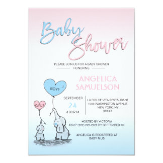 Cute Gender Reveal Neutral Elephant Baby Shower Card