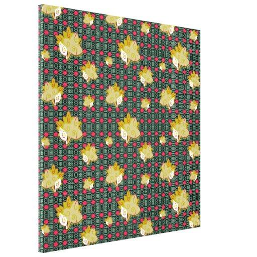 Cute Geometric Leaf Pattern Stretched Canvas Print Canvas Print