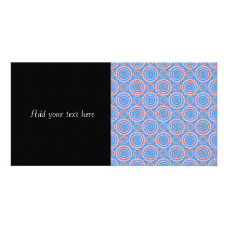 Cute Geometric Pattern Pink Circles over Blue Photo Card Template