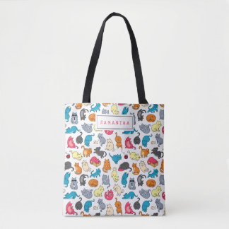 Cute Gift for Cat Lover Cat Mom Personalized Tote Bag