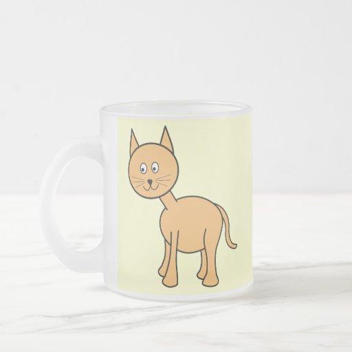 Cute Ginger Cat Cartoon. Cream Background. Mug