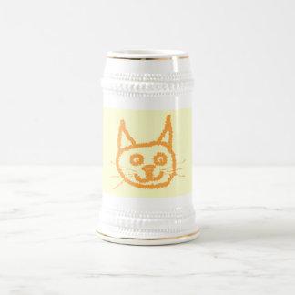 Cute ginger cat cartoon, on cream. beer steins