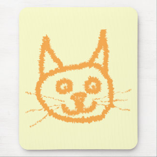 Cute ginger cat cartoon, on cream. mouse pad