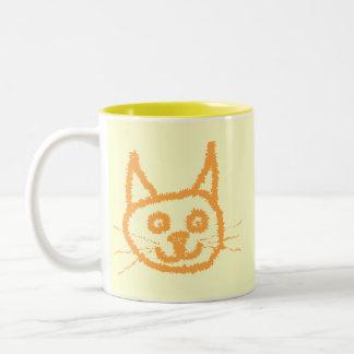 Cute ginger cat cartoon, on cream. mugs