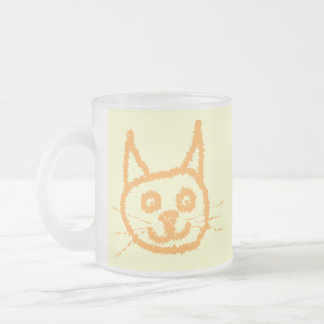 Cute ginger cat cartoon, on cream. frosted glass mug