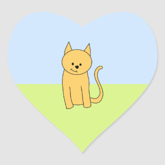 Cute Ginger Cat. Heart Sticker