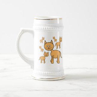 Cute Ginger Cats.  Cat Cartoon. 18 Oz Beer Stein