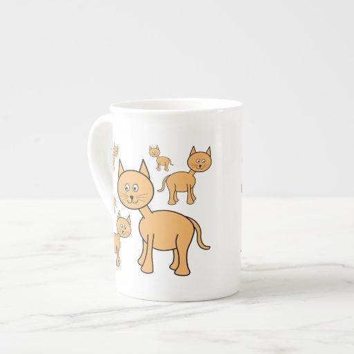 Cute Ginger Cats.  Cat Cartoon. Bone China Mugs