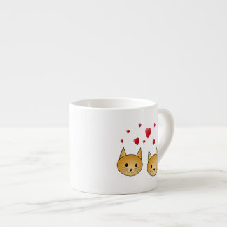 Cute Ginger cats. With Red Love Hearts. 6 Oz Ceramic Espresso Cup