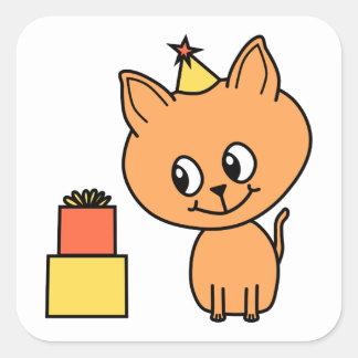 Cute Ginger Kitten Wearing a Birthday Hat. Square Sticker