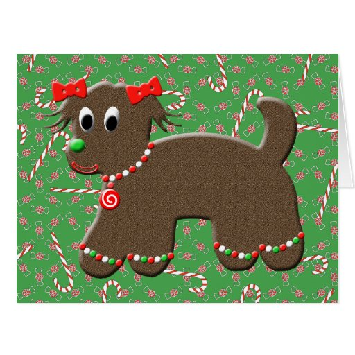 Cute Gingerbread Puppy Dog Christmas Greeting Cards