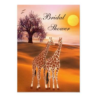 "Cute Giraffe Bridal Shower Invitation 5"" X 7"" Invitation Card"