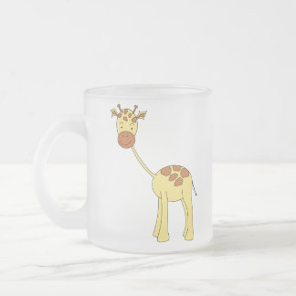 Cute Giraffe. Cartoon. Frosted Glass Mug