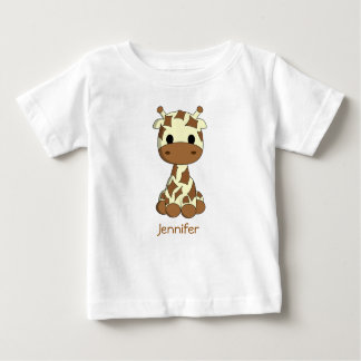 Cute giraffe kawaii cartoon name baby shirt