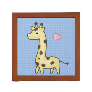 Cute Giraffe With Heart Illustration Desk Organiser