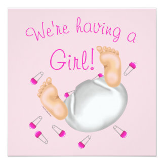 Cute Girl Diaper Butt Baby Shower Invitation