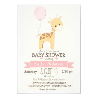 """Cute Girl Giraffe, Jungle Zoo Animal Baby Shower 5"""" X 7"""" Invitation Card"""