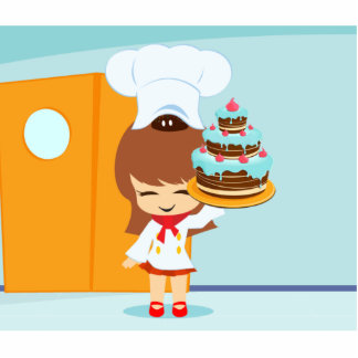 Cute Girl holding Chocolate Birthday Cake Standing Photo Sculpture