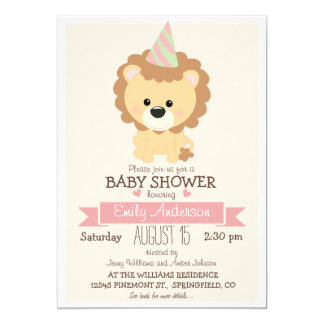 Cute Girl Lion, Jungle Zoo Animal Baby Shower 13 Cm X 18 Cm Invitation Card