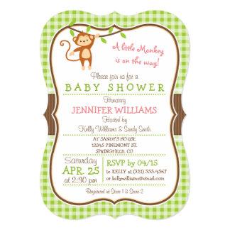 Cute Girl Monkey; Jungle Theme Baby Shower 13 Cm X 18 Cm Invitation Card