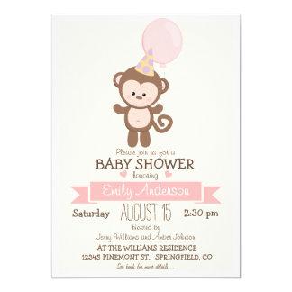 Cute Girl Monkey, Jungle Zoo Animal Baby Shower 5x7 Paper Invitation Card