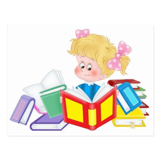 cute girl reading postcards