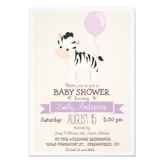 Cute Girl Zebra, Jungle Zoo Animal Baby Shower 5x7 Paper Invitation Card