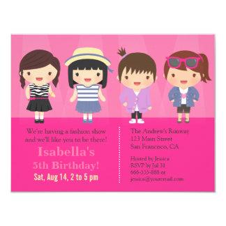 Cute Girls Fashion Show Birthday Party 11 Cm X 14 Cm Invitation Card
