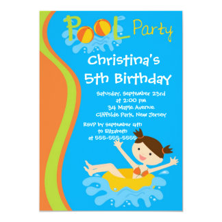 Cute Girls Pool Party Birthday Party Invitations