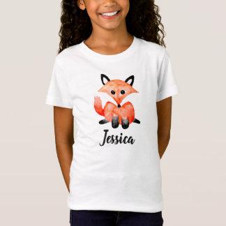Cute Girls Watercolor Woodland Wildlife Fox & Name T-Shirt