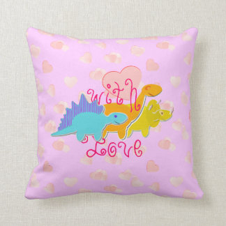Cute Girly Dinosaurs With Love Hearts Pattern Throw Cushions
