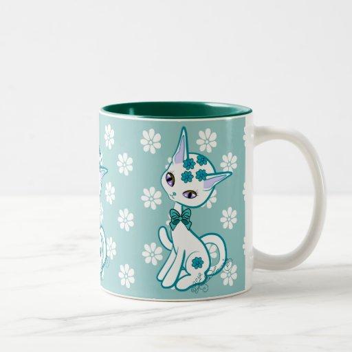 Cute Girly Kitty Cat Aqua Blue Mugs