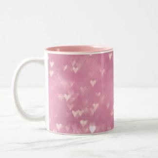 Cute Girly Pink Bokeh Heart Two-Tone Coffee Mug