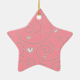 Cute Girly Pink Swirls and Hearts Doodle Art Christmas Ornament