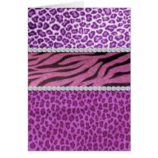 Cute Girly Purple Animal Print Diamond Cards