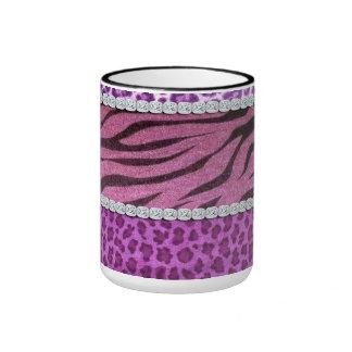 Cute Girly Purple Animal Print Diamond Ringer Mug