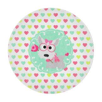 Cute Girly Westie Puppy Pink Mint Hearts Pattern Cutting Board