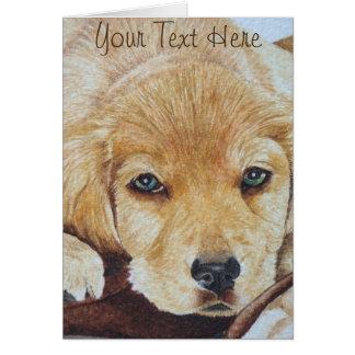 cute golden retriever puppy dog portrait art note card