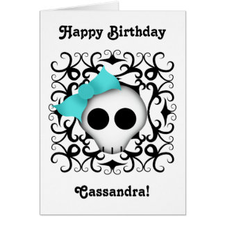 Cute goth punk skull with blue bow on black swirls card
