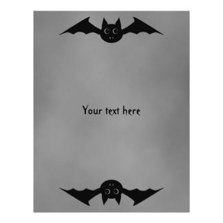 Cute gothic Halloween vampire bat with big eyes Flyer